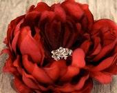 red flower, hair clip, wedding hair accessories, wedding hair flower, bridal hair clip