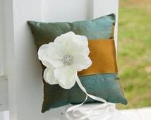 Ring Pillow, peacock theme wedding pillow, green ring bearrer pillow, copper gold ring pillow