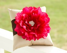 Champagne Ring Bearer Pillow, brown ring pillow, fucsia pink ring pillow