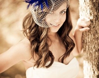 Royal Blue Feather Fascinator, Something Blue, Bridal Hair Piece