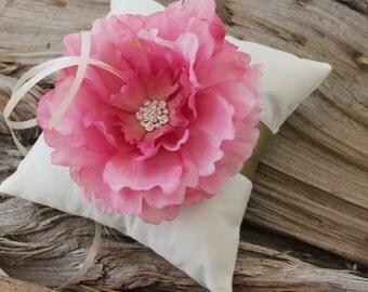 Ring bearer pillow, Ivory Ring Pillow, Dusty Rose Flower Ring Pillow