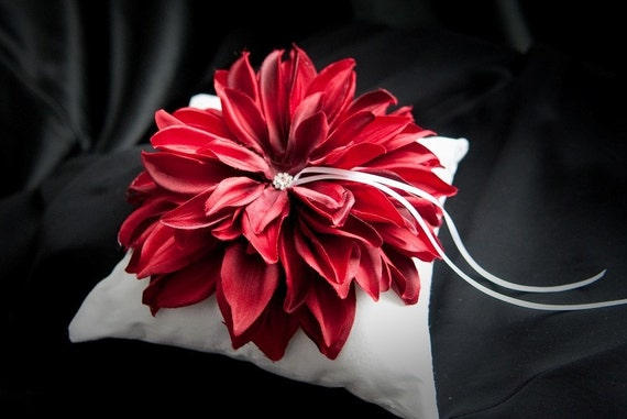 PURE ROMANCE Ring Bearer Pillow, The Red Flower with a Diamond make this a HOT item