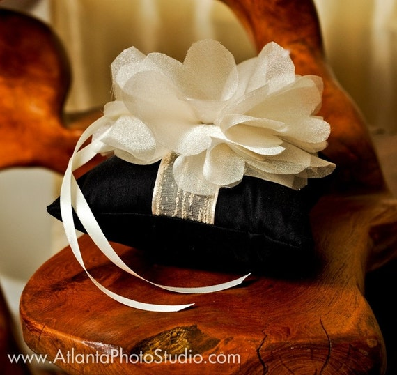 Black Wedding Ring Pillow with Champagne Organza Flower LUXURIOUS Ring Bearrer Pillow for Weddings