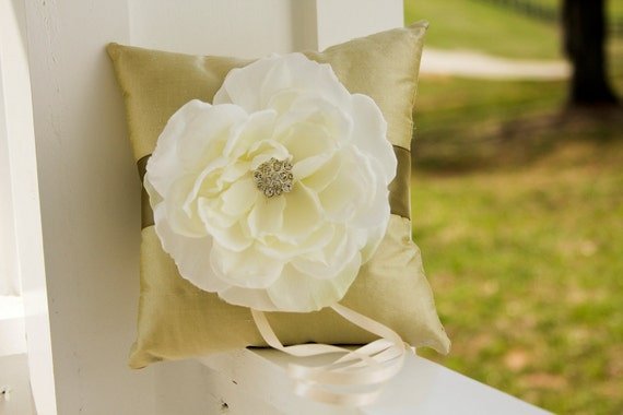 Wedding Ring Pillow, ivory ring bearer pillow