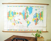 RESERVED Vintage School Wall Map : Standard Time Zone Chart of the World