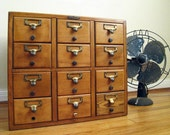 RESERVED Vintage Card Catalog : 12 Drawer Remington Rand Wood Cabinet