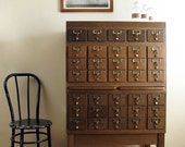 Vintage Card Catalog : 35 Drawer Wood Cabinet