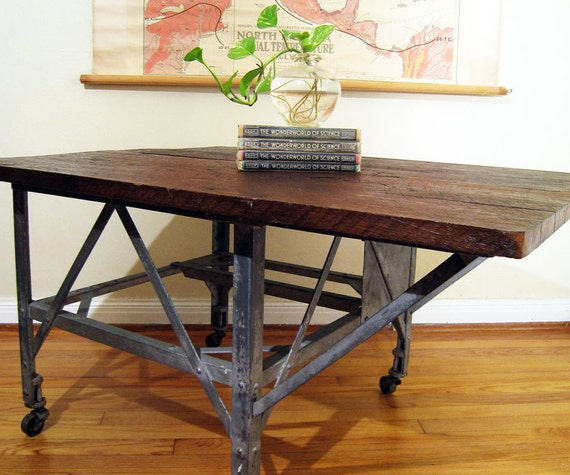 Reserved Industrial Coffee Table Cart On Casters By