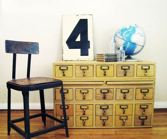 RESERVED Vintage Card Catalog : 20 Drawer Blond Wood Cabinet