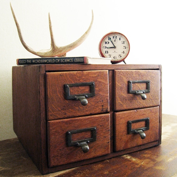 Wood card catalog antique desktop four drawer cabinet