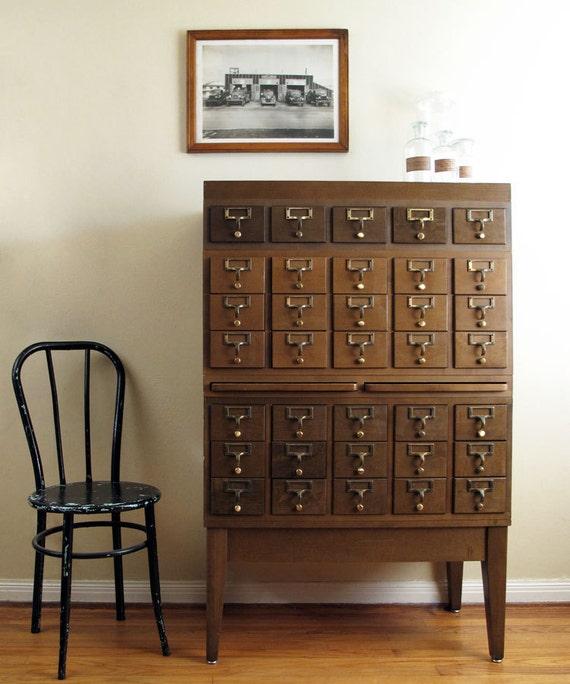 Vintage Card Catalog 35 Drawer Wood Cabinet