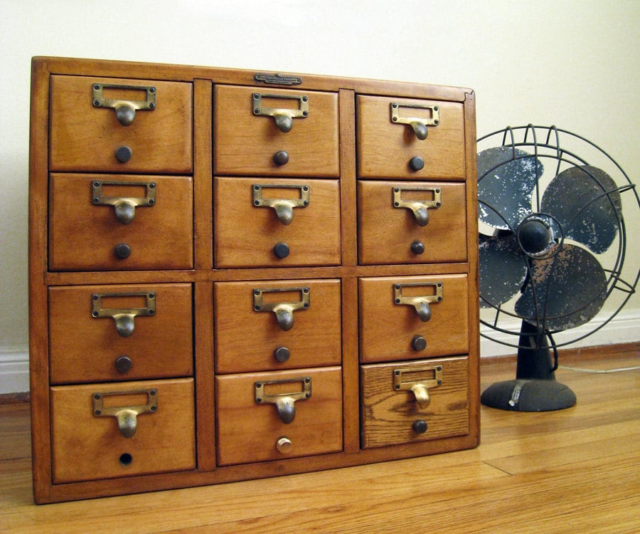 Reserved Vintage Card Catalog 12 Drawer Remington Rand Wood