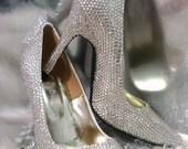 Big sales premade Bling Swarovski Crystal encrusted pointed toe High heels bridal shoe Wedding