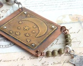 Etched Metal Pendant Copper Brass Celestial Stars Moon Rivet Hammered Silver