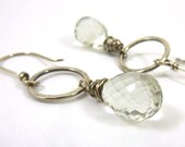 Green Amethyst Earrings Fine Silver Briolette Sterling Silver Rings Hammered
