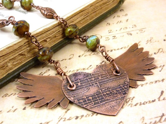 Winged Heart Necklace Angel Wings Pendant Etched Copper Music Steampunk Aqua Green Amber Czech Picasso Beads
