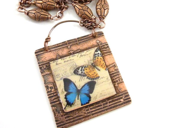 SALE Butterfly Necklace Etched Copper Music Resin Image Collage Vintage Style Postcard Blue Orange