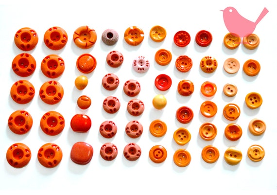 Vintage buttons - assorted orange buttons