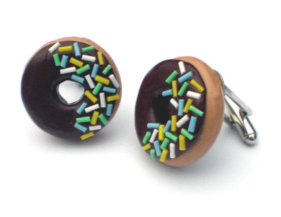 Funky Chocolate Doughnut Cufflinks with Multicoloured Sprinkles