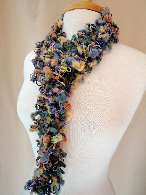Pastel Fiber Art Necklace Scarf