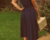 1980s Vintage Tabby of California Blue Polka Dot dress Size 12