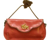 SALE - Gorgeous pink leather clutch with birds