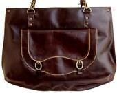 HOLIDAY SALE - Liberina dark chocolate brown vintage style Leather shoulder bag