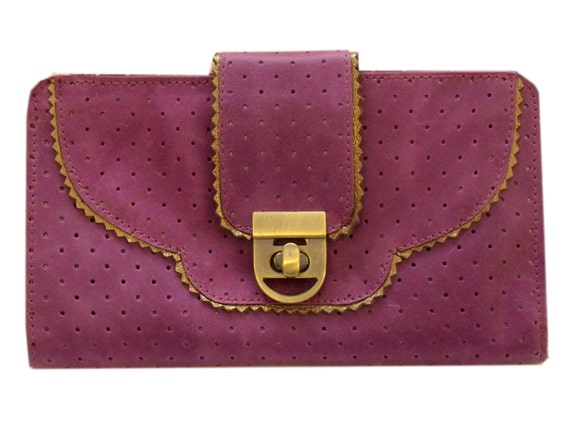 Summer Sale - Purple leather wallet- free shipping