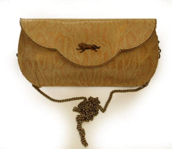 Winter Sale - Gorgeous large snake pattern leather clutch with lion and floral lining