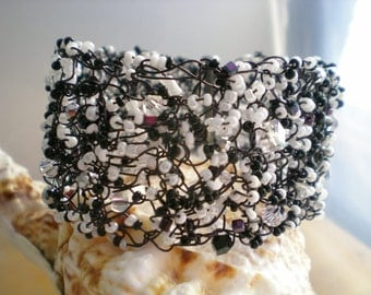 Cuff Bracelet Crochet Wire Cuff Black and White Swarovski Crystals Seed Beads
