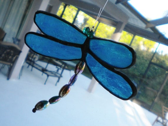Blue Dragonfly Suncatcher Stained Glass