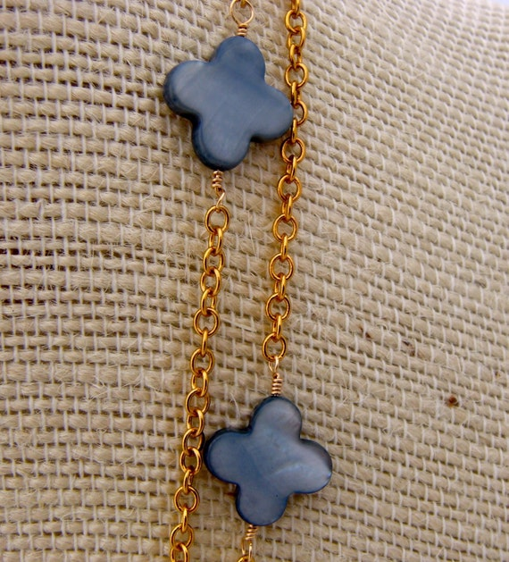 Gray Blue Mother of Pearl CLOVER Necklace