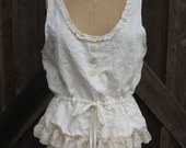 camisole washed linen in ivory