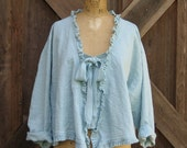 linen top blouse swing style with ruffles in light blue