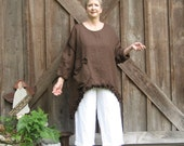 tunic washed linen in bittersweet bchocolate brown with ruffles