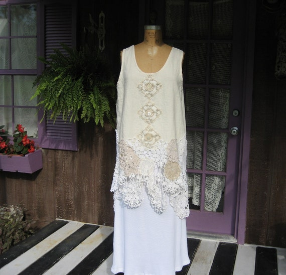 linen tunic in ivory with vintage crochet lace