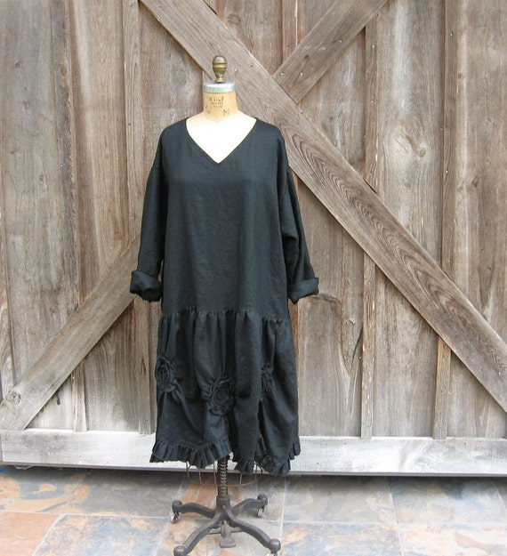 linen dress tunic Romance in black with V neck