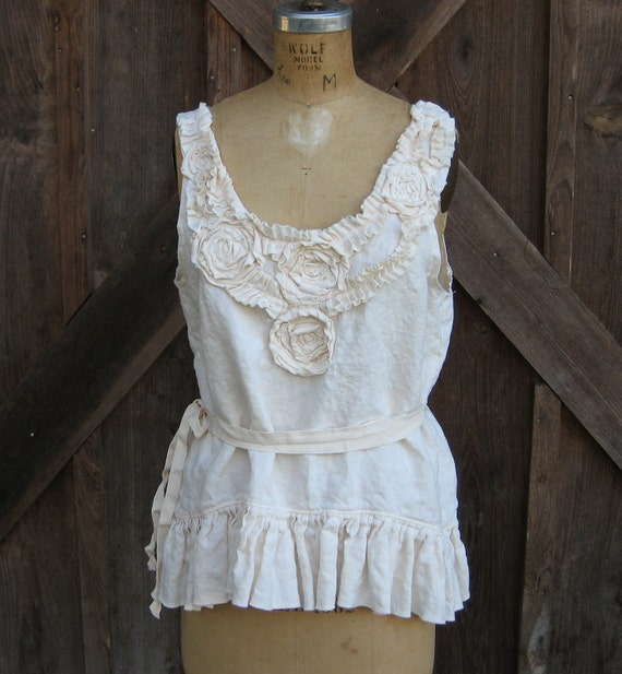 Custom for Janice linen tank top camisole vest in ivory romantic