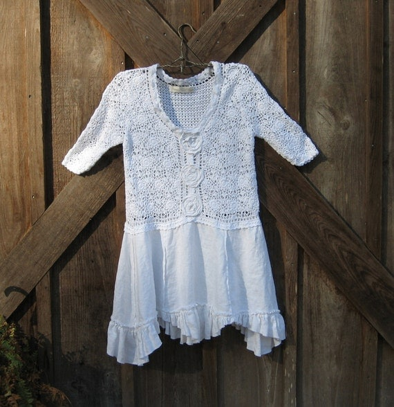 recycled reconstructed upcycled crochet sweater and linen tunic in white