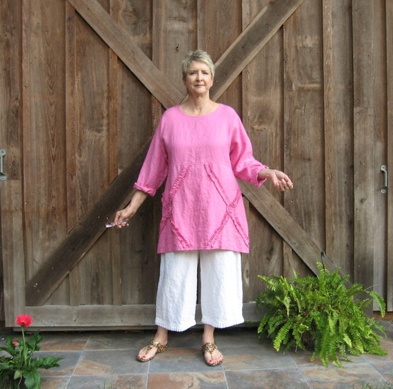 linen tunic top in bright pink A-line ready to ship