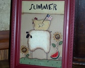 Primitive Framed Four Season Sheep Canvas Board Painting - Summer