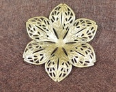 Antique Brass Flower Filigree Charm, NICKEL FREE 30pcs (3002)