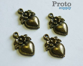 Antique Romantic Bronze Heart Shape Floral Pendant Charm Earrings 10pcs (0539)