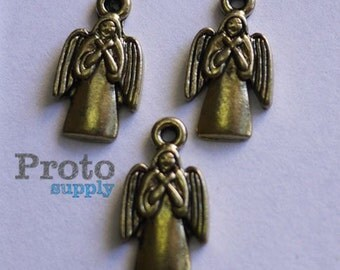 Angel Pendant Charm Earrings Antique Gold 10pcs (0504)
