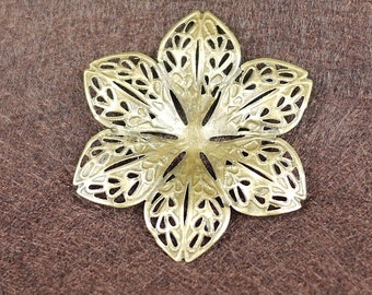 Antique Brass Flower Filigree Charm, NICKEL FREE 10pcs (3002)