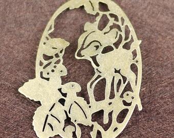 Antique Copper Filigree Deer With Leaf Charm Drop 15pcs (3008)