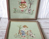Pair Little Girl and Boy Needlepoints
