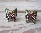 Matisse Copper and Enamel Butterfly Earrings
