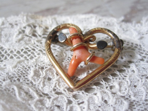 Victorian Coral Heart Love Knot Brooch