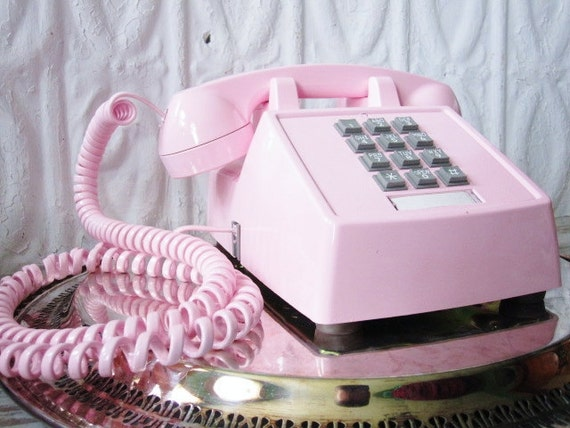 Vintage telephone pink push button phone